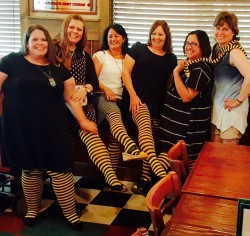 The Ladies of the Rowlett/Rockwall Book Club model HUE's Bumble Bee tights. See, you'd never even notice if they'd been crying their eyes out.